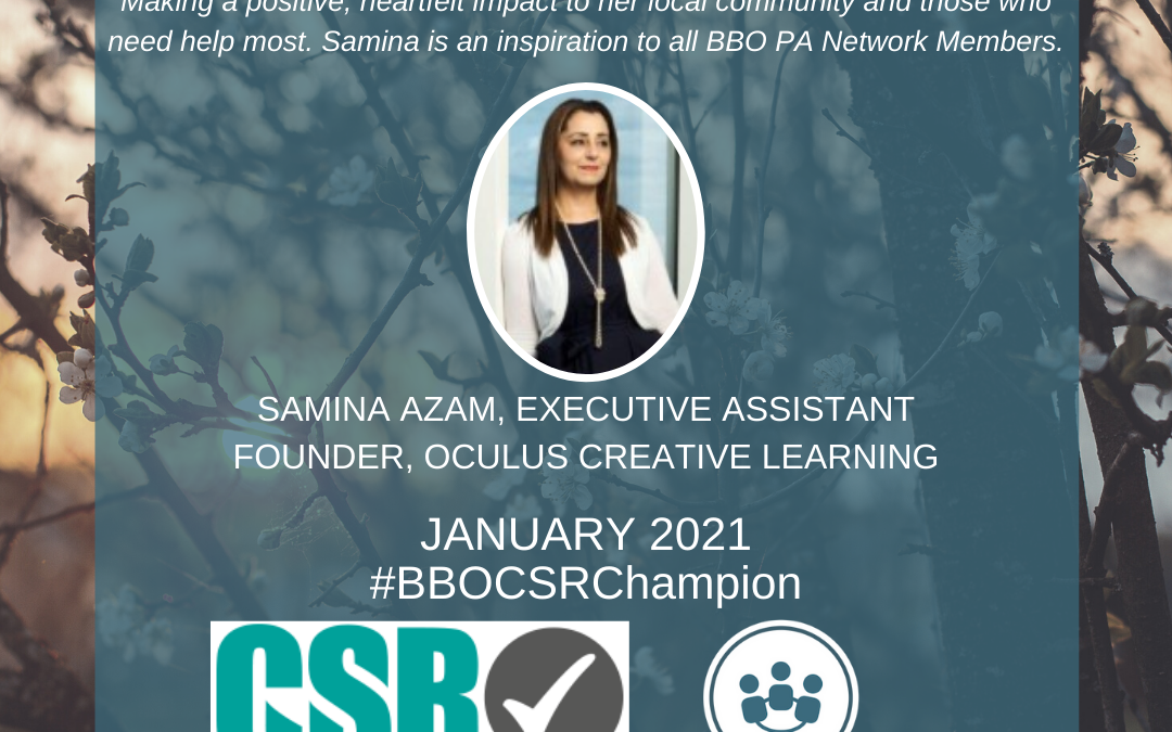 #BBOCSRChampion – January 2021 – Samina Azam, Executive Assistant & Oculus Creative Learning